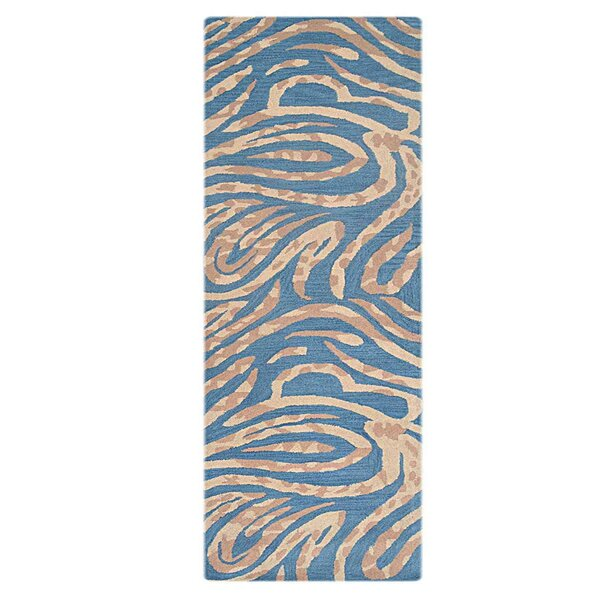 Creager Hand-Tufted Wool Blue/Pink Area Rug by Mercer41