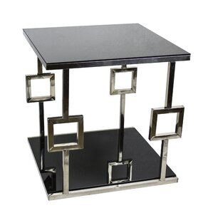 Berkshire Chrome Glass End Table by House of Hampton