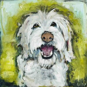 'Smiley Dog' Painting Print on Wrapped Canvas by Andover Mills