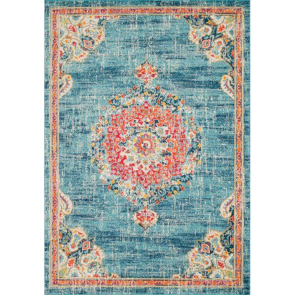 Ernst Blue/Orange Area Rug by Bungalow Rose