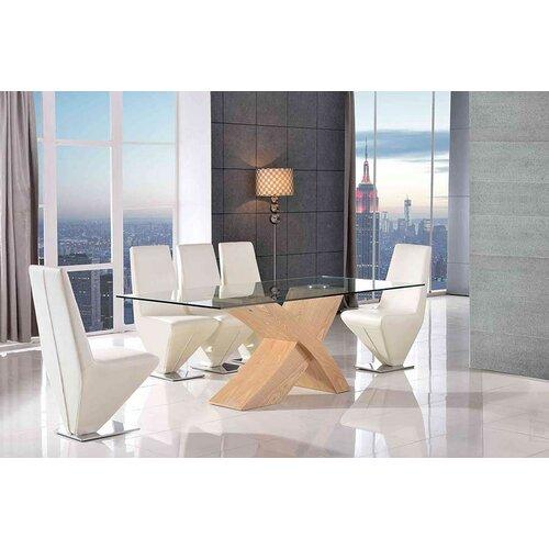 Ediz Glass Dining Set with 8 Chairs Ebern Designs Colour