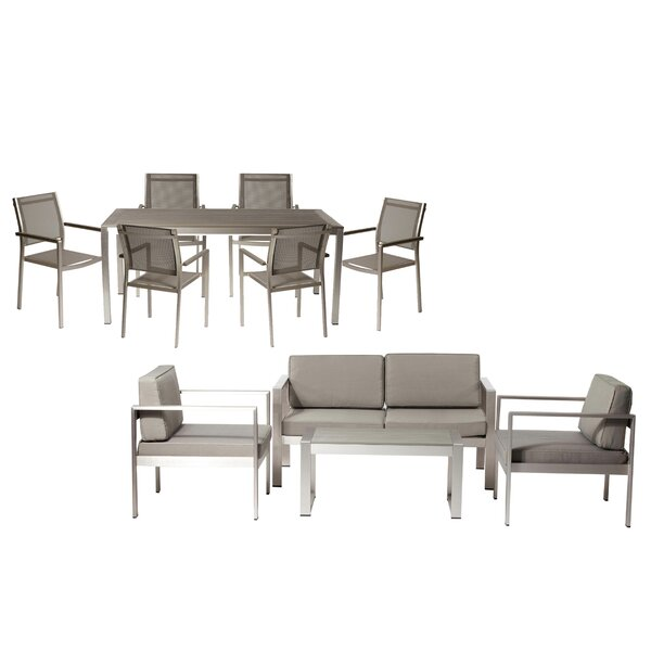 Hillwood 11 Piece Rattan Conversation Set with Cushions by Rosecliff Heights