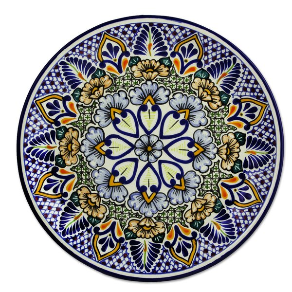 Talavera Ceramic Floral Serving Plate by Novica