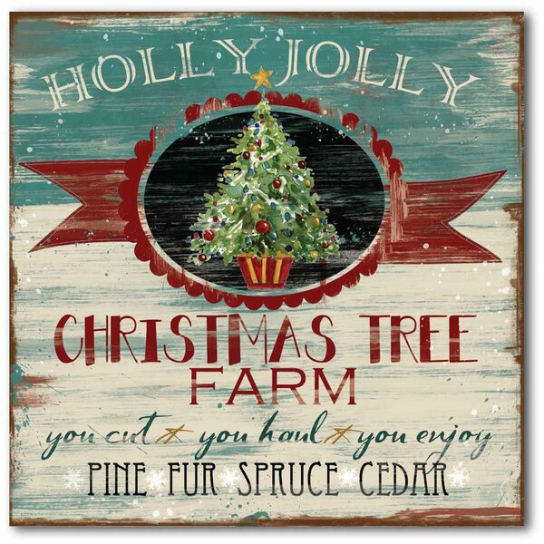 Holly Jolly Farm Graphic Art on Wrapped Canvas by