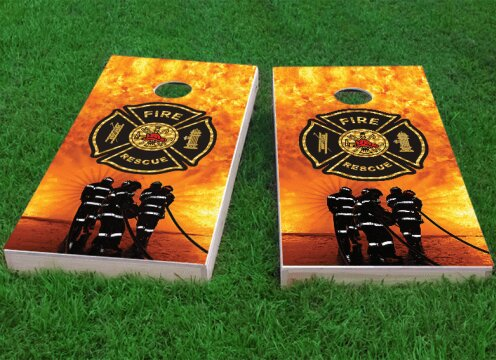 Firefighter Maltese Cross Cornhole Game (Set of 2) by Custom Cornhole Boards