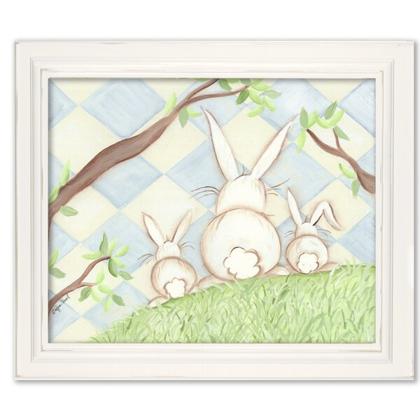 Birds Bunnies Bunny Diamond Giclee Framed Art by Doodlefish