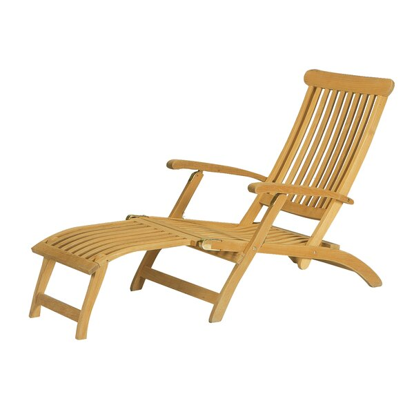 Annica Reclining Teak Chaise Lounge by Highland Dunes Highland Dunes