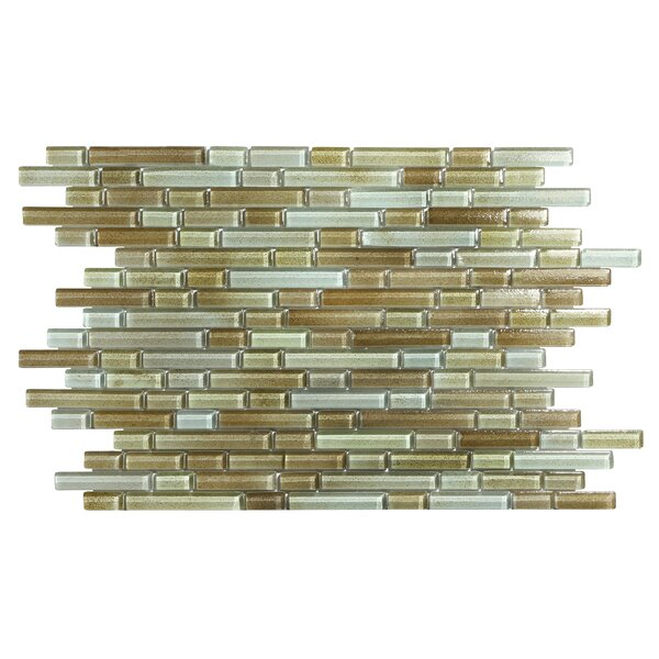 Hi-Fi Offset Linear Random Sized Glass Mosaic Tile in Brown/Beige/Green by Kellani