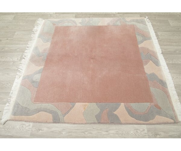 Melina Nepal Tibet Oriental Contemporary Hand-Knotted Wool Orange/Gray Area Rug by Bungalow Rose