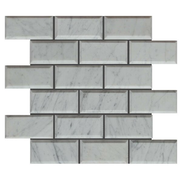 Pillow Edge 2 x 4 Natural Stone Mosaic Tile in Lusso Carrara by QDI Surfaces