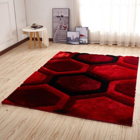 Delightful Kleiber Modern Shaggy 3D Red/Black Area Rug