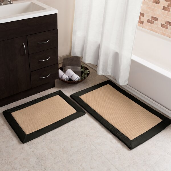 2 Piece Faux Linen Fleece Bath Rug Set by Lavish Home