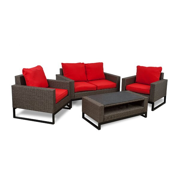Bawden 4 Piece Rattan Sofa Seating Group with Cushions by Gracie Oaks