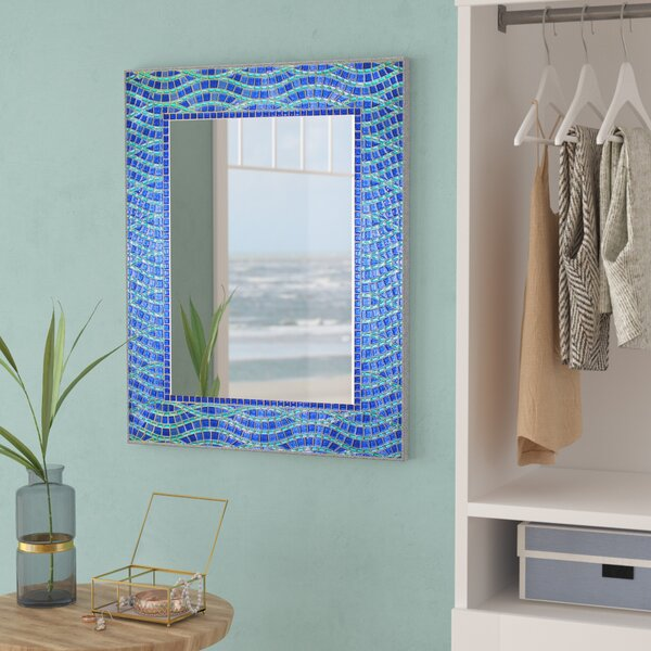 Clarabelle Frameless Rectangle Ocean Accent Wall Mirror by Beachcrest Home