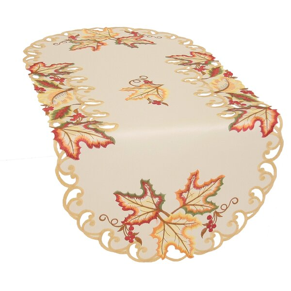 Moisson Leaf Embroidered Cutwork Fall Table Runner by Xia Home Fashions