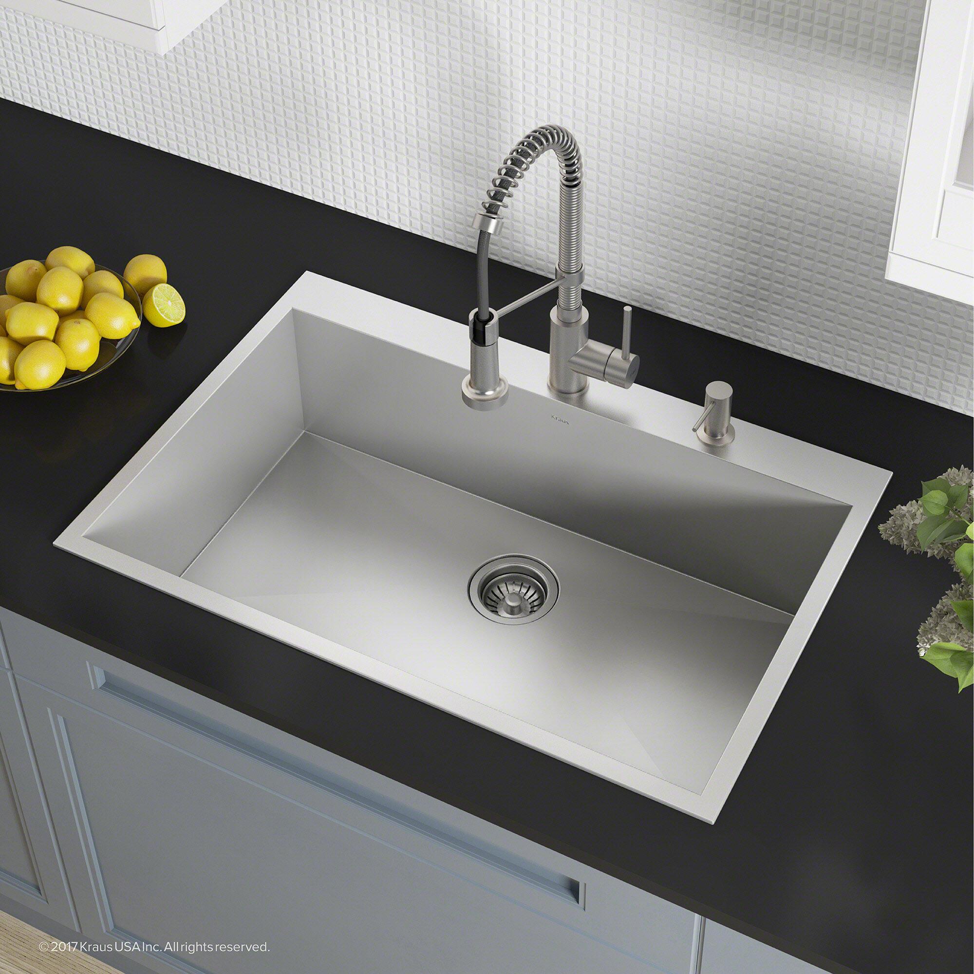 New Deep Top Mount Drop In Stainless Steel Single Bowl Kitchen Sink Variety Size Bathroom Sinks Home Garden