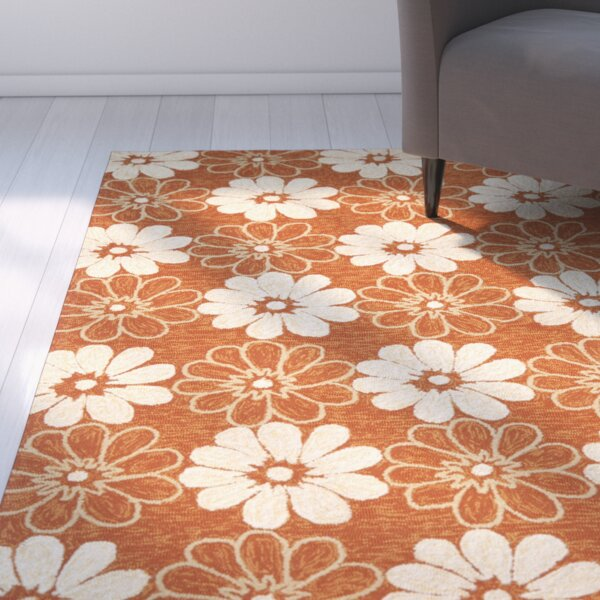 Hayes Rust/Ivory Outdoor Area Rug by Ebern Designs