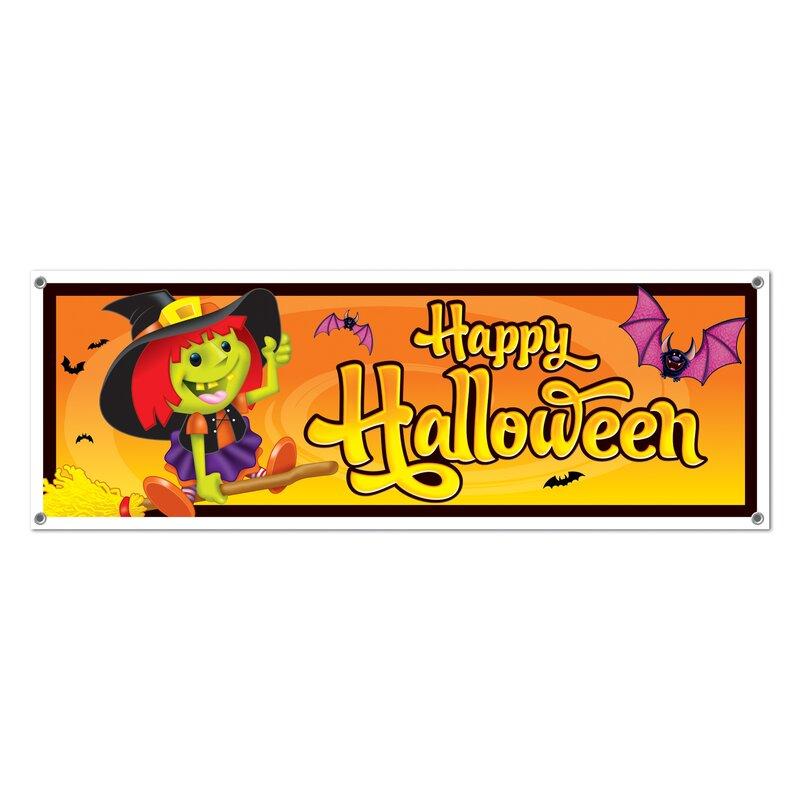 The Holiday Aisle Happy Halloween Sign Banner | Wayfair