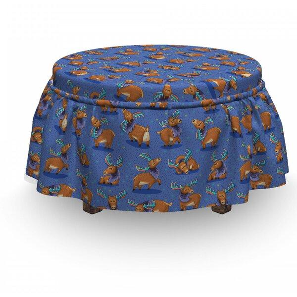 Moose Funny Cartoon Mascots 2 Piece Box Cushion Ottoman Slipcover Set By East Urban Home