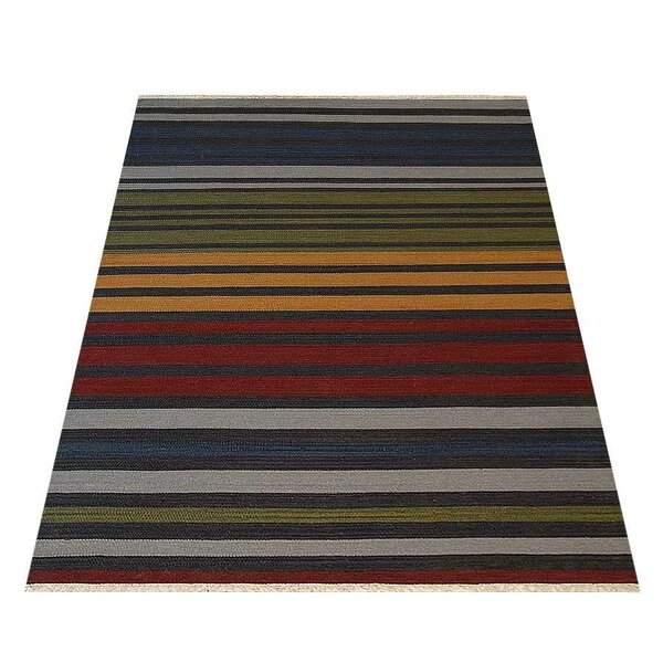 Merissa Handwoven Flatweave Wool Blue/Red Area Rug by World Menagerie