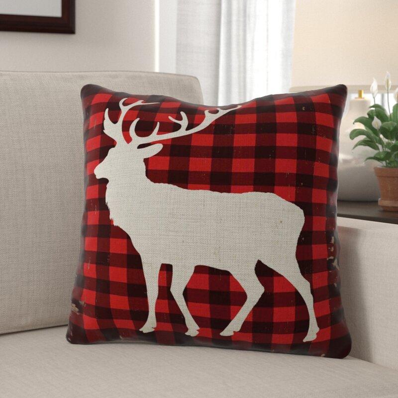 Millwood Pines Ayden Reindeer Indoor Outdoor Linen Throw Pillow Reviews Wayfair