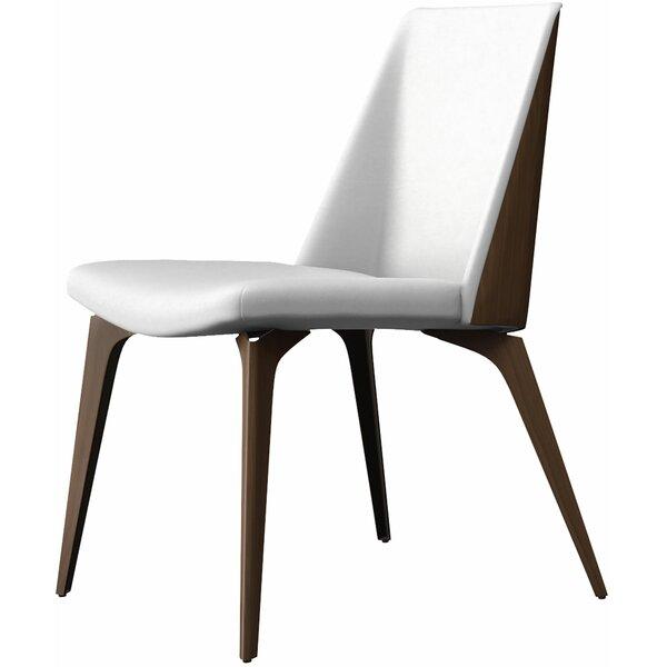 Leather Upholstered Side Chair by Modloft Black Modloft Black