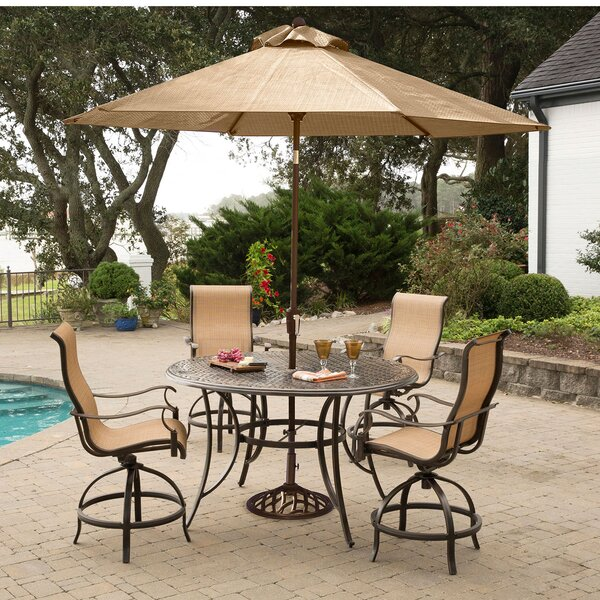 Buariki 5 Pieces High Dining Set With Umbrella By Fleur De Lis Living by Fleur De Lis Living #2