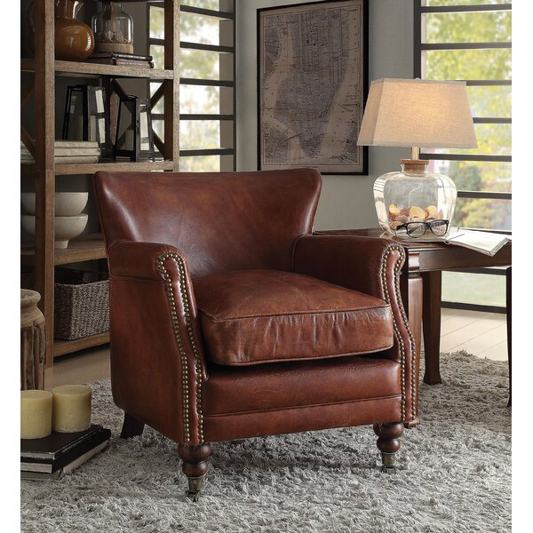 Munson Leather Upholstered Armchair by Canora Grey