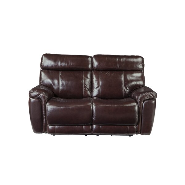 Monty Leather Reclining Loveseat by Red Barrel Studio