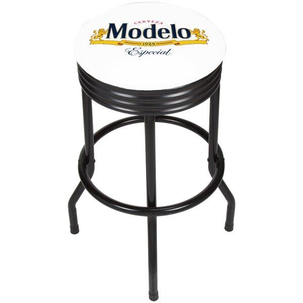Modelo Ribbed 28.5 Swivel Bar Stool by Trademark Global
