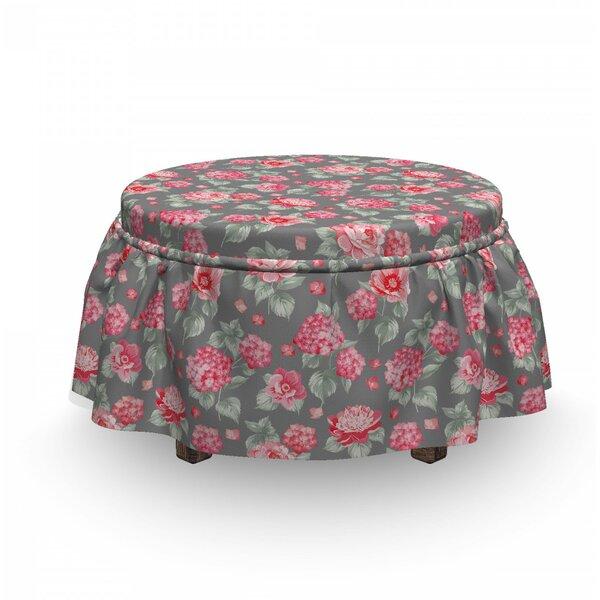 Flower Romantic Bridal Bouquets 2 Piece Box Cushion Ottoman Slipcover Set By East Urban Home