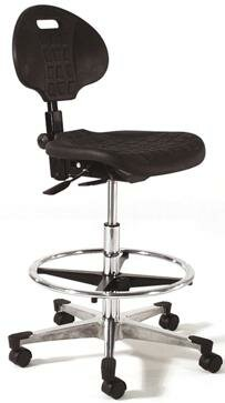 Height Adjustable Tilt Back Self Skin Laboratory Stool with Flat Base by Intensa