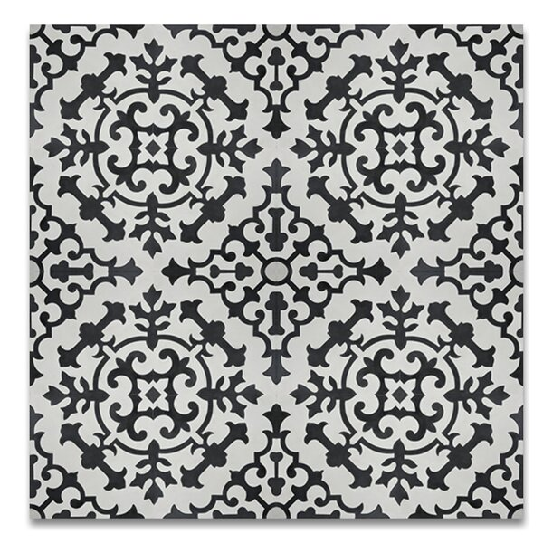 Arfoud 8 x 8 Cement Tile in Black/White by Moroccan Mosaic