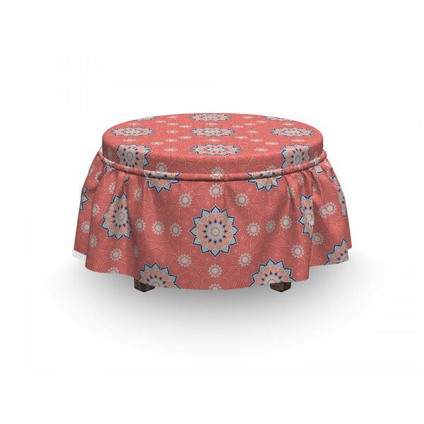 Moroccan Floral Ornate 2 Piece Box Cushion Ottoman Slipcover Set By East Urban Home