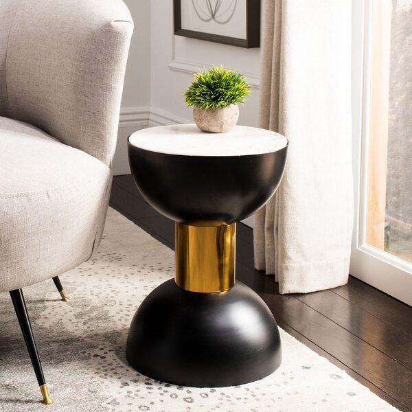 Block Marble Top Pedestal End Table By Everly Quinn