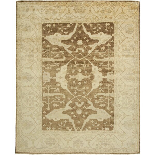 Oushak Hand-Knotted Beige Area Rug by Shalom Brothers