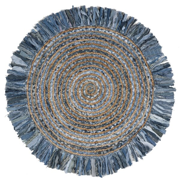 Abhay Boho Hand Woven Cotton Gray/Blue Area Rug by Bungalow Rose