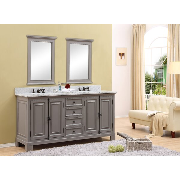 Hampson 72 Double Bathroom Vanity Set with Mirror by Canora Grey