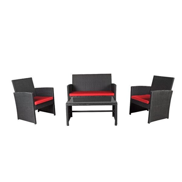 Madisonburg 4 Piece Bar Height Dining Set with Cushions by Bloomsbury Market