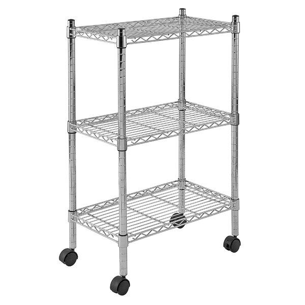 Mobile 3 Shelf Wire Shelving by Sandusky Cabinets