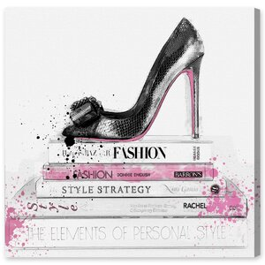 'Black Shoe and Pink Lady Books' Graphic Art on Wrapped Canvas by Willa Arlo Interiors