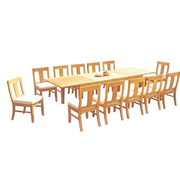 LurLine 13 Piece Teak Dining Set by Rosecliff Heights