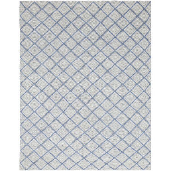 One-of-a-Kind Demetra Hand-Knotted Wool Blue Indoor Area Rug by Isabelline