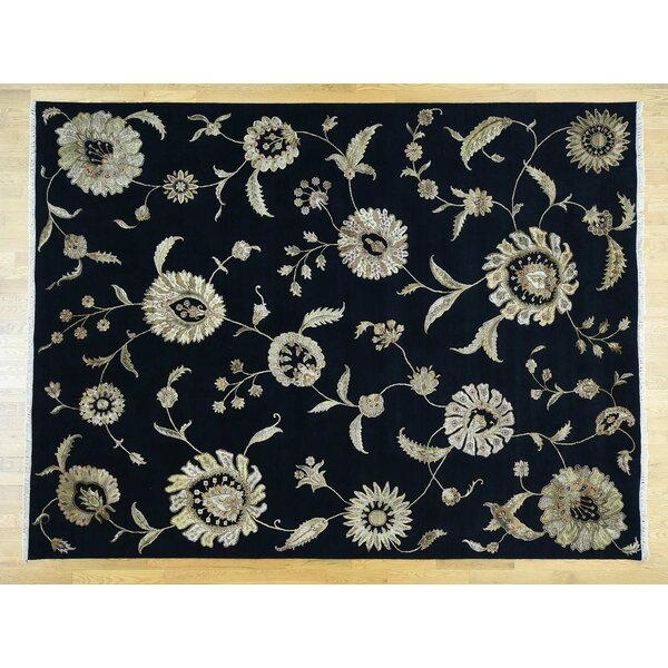 One-of-a-Kind Boutell Transitional No Border Handwoven Black Wool/Silk Area Rug by Isabelline