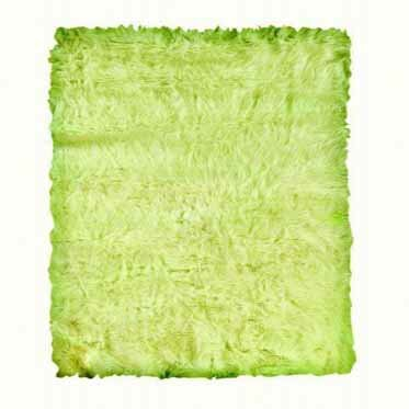 Samantha Hand-Tufted Faux Sheepskin Green Area Rug by Threadbind