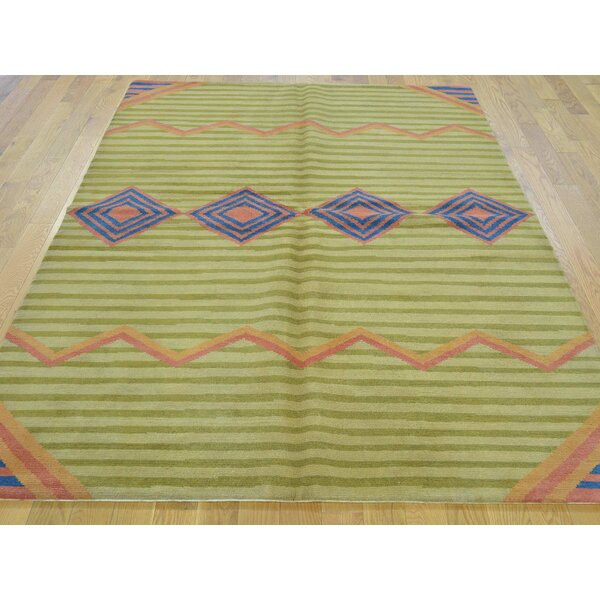 One-of-a-Kind Blocker Tribal Geometric Hand-Knotted Green Wool Area Rug by Isabelline