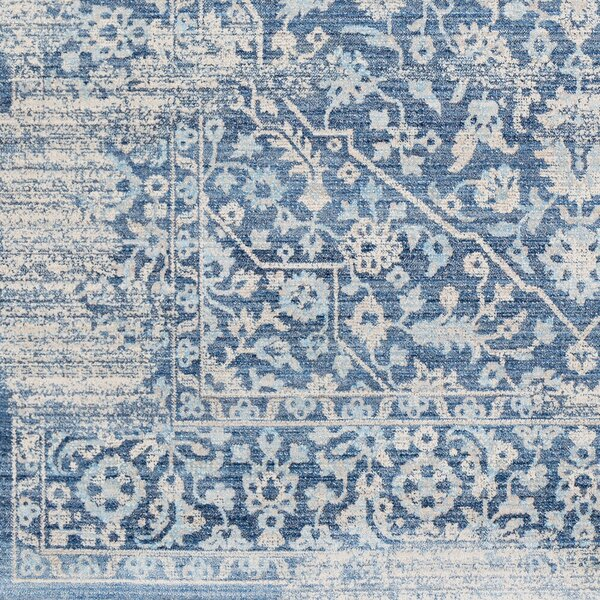 Elvis Floral Sky Blue/Saffron Area Rug by Charlton Home