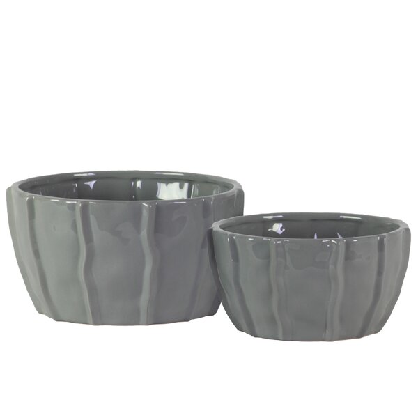 Gulick 2-Piece Ceramic Pot Planter Set by Orren Ellis