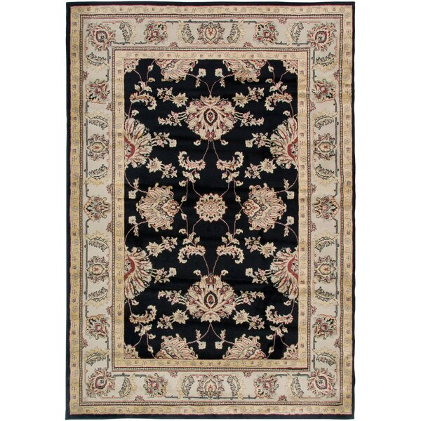 Culver Black Floral Area Rug by Threadbind