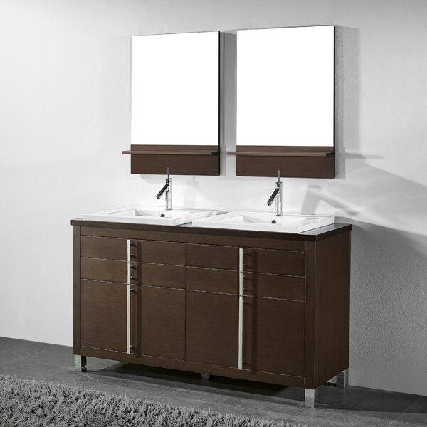 Turin 60 Double Bathroom Vanity Set with Mirror by Adornus